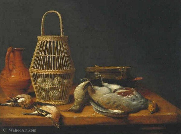 Basket of eggs among dead birds and kitchen utensils by Hubert Van Ravesteyn (1640-1687, Netherlands) | WahooArt.com