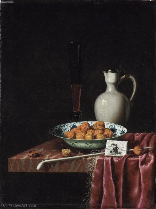 Still Life with Walnuts, Tobacco and Wine by Hubert Van Ravesteyn (1640-1687, Netherlands)