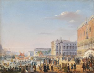 Ippolito Caffi - The arrival of Emperor Franz Joseph and Empress Elisabeth of Austria in Venice in (1856)