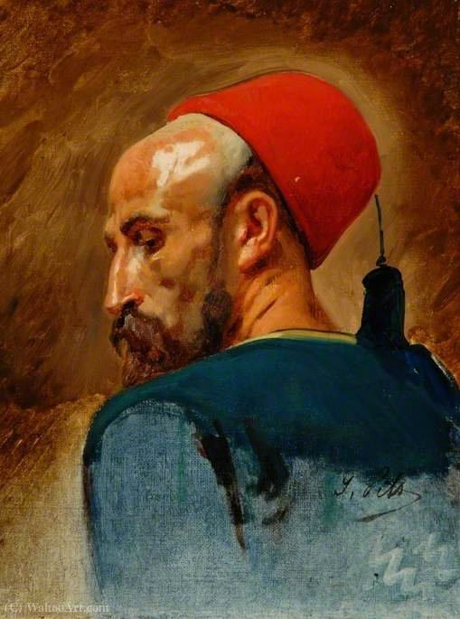 Head of an Arab in a Fez by Isidore Alexandre Augustin Pils (1815-1875, France) | Art Reproductions Isidore Alexandre Augustin Pils | WahooArt.com