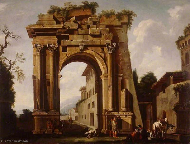 Buy Museum Art Reproductions | Architectural Capriccio, with the Arch of Titus and the Figures of Travellers by Jacob De Heusch (1656-1701, Netherlands) | WahooArt.com
