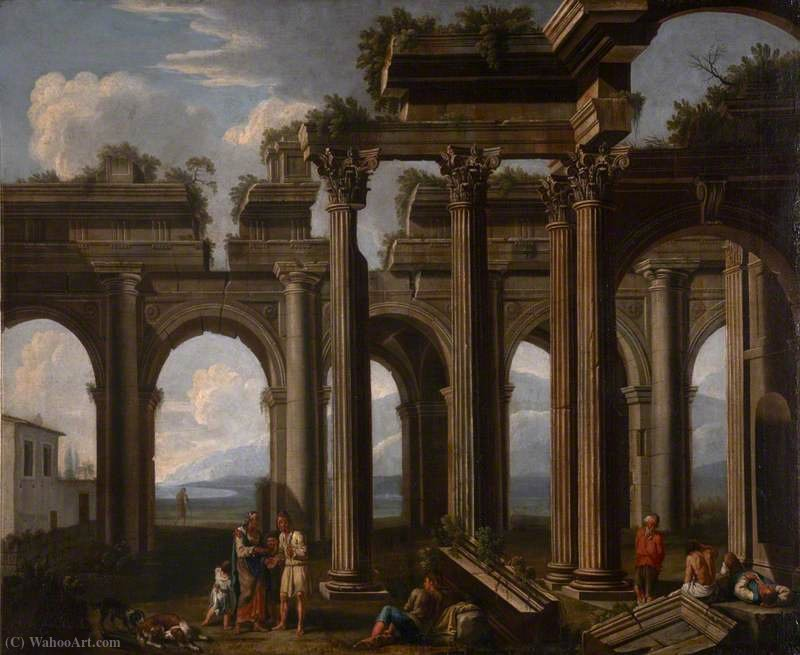 Order Art Reproductions | Architectural Capriccio, with the Ruins of a Doric Arcade and Corinthian Colonnade, with Lazzaroni and a Fortune-Teller by Jacob De Heusch (1656-1701, Netherlands) | WahooArt.com