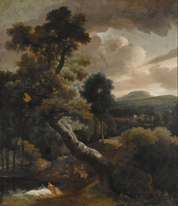 Jacob Esselens - A wooded hilly landscape with figures resting near a stream, horsemen on a path nearby, a view of a town beyond