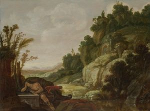 Jacob Symonsz Pynas - Mountain Landscape with Narcissus