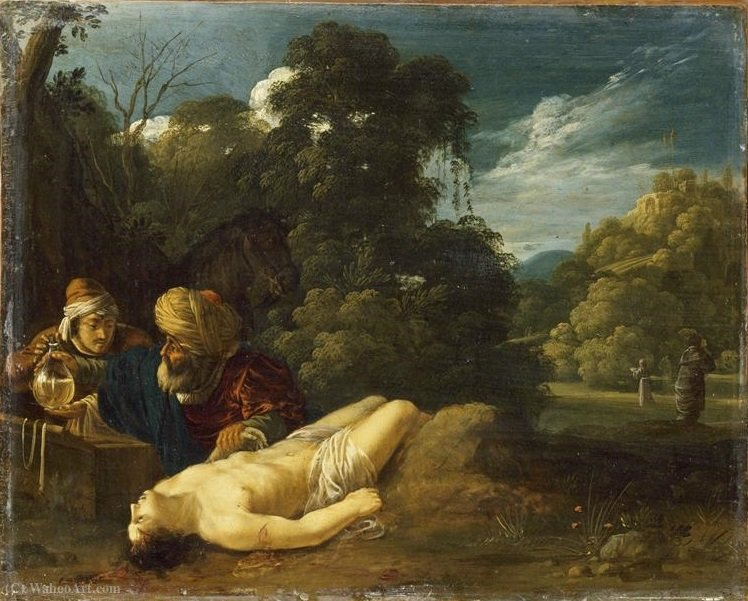 The good Samaritan by Jacob Symonsz Pynas (1583-1631, Netherlands) | Paintings Reproductions Jacob Symonsz Pynas | WahooArt.com