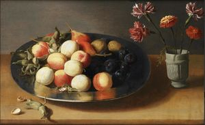 Jacob Foppens Van Es - Peaches, pears, nuts and a vase of carnations on a table top