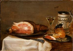 Jacob Foppens Van Es - Still life with bacon