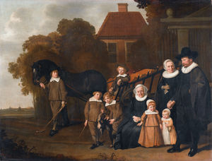 Jacob Van Loo - Portrait of the Meebeeck Cruywagen family near the gate of their country home on the Uitweg near Amsterdam.
