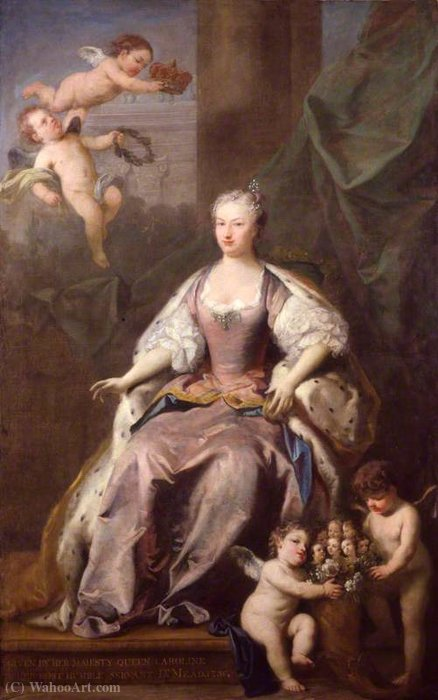 Caroline Wilhelmina of Brandenburg-Ansbach by Jacopo Amigoni (1682-1752, Italy) | Museum Quality Reproductions | WahooArt.com