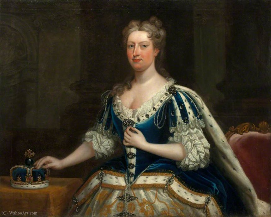 Order Art Reproduction : Queen Caroline of Brandenburg-Anspach by Jacopo Amigoni (1682-1752, Italy) | WahooArt.com