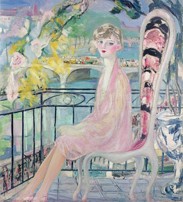 Portrait of Dolly Davis on a Balcony in Front of the Old Bridge of Alma by Jacqueline Marval (1866-1932, France) | Museum Quality Copies Jacqueline Marval | WahooArt.com