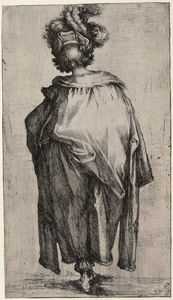 Jacques Bellange - Melchior, seen from behind, wearing a mantle trimmed with fur and a hat adorned with feathers
