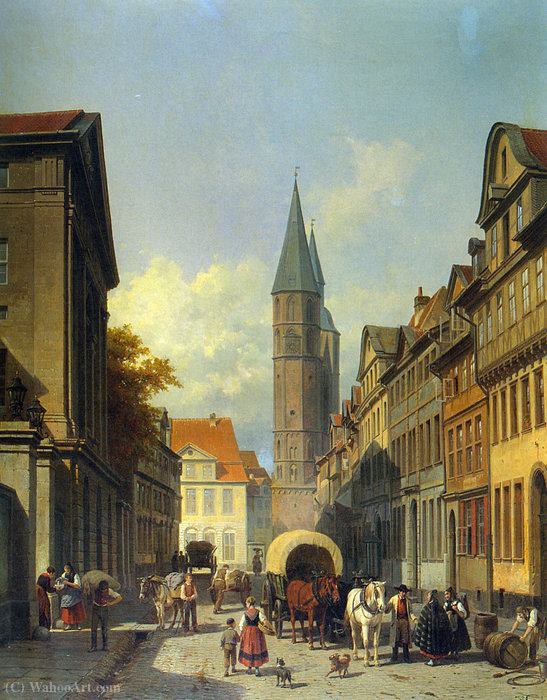 A Busy Street in a German Town by Jacques François Carabain (1834-1933) | Reproductions Jacques François Carabain | WahooArt.com