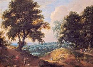 Jacques D- Arthois - Landscape with a Huntsman