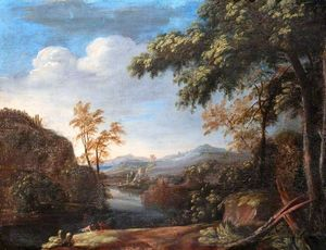 Jacques D' Arthois - Landscape with a River and Figures