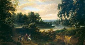 Jacques D- Arthois - Landscape with a River and Horsemen