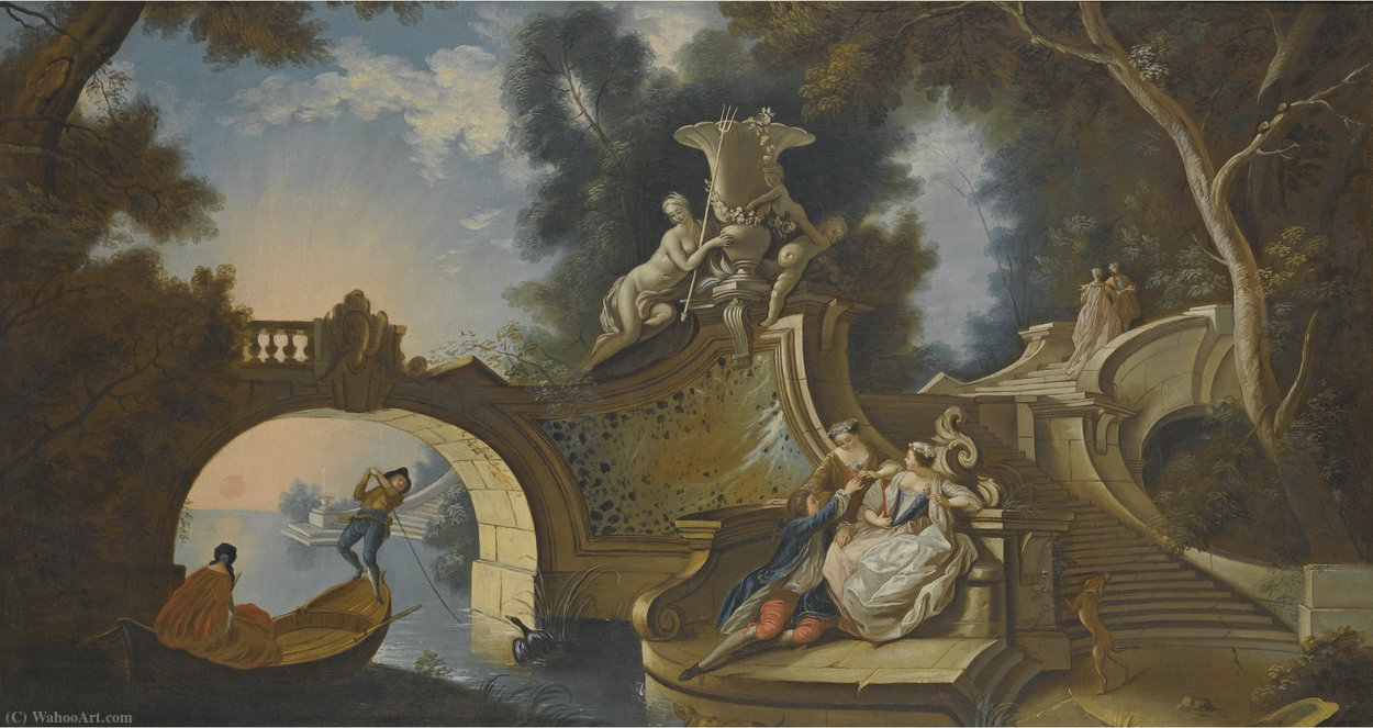 An outdoor scene with elegant figures reclining on riverside steps beside a bridge by Jacques De Lajoue (1686-1761, France) | Art Reproductions Jacques De Lajoue | WahooArt.com