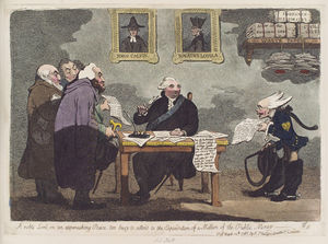 James Gillray - A noble lord, on an approaching peace, too busy to attend to the expenditure of a million of the public money