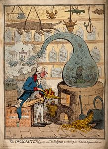 James Gillray - An alchemist using a crown-shaped bellows to blow the flames