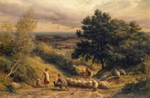 James Thomas Linnell - Driving Sheep A View from Reigate, Surrey