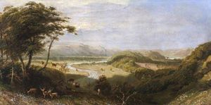 James Thomas Linnell - The Towy Valley with Dinefwr Castle and Paxton Tower in the Distance