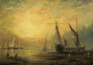 James Webb - A Seascape with Yachts at Sunset