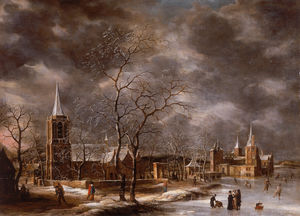 Jan Abrahamsz Beerstraten - Warmond Castle in a Winter Landscape