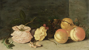 Jan Baptist Van Fornenburgh - A still life with peaches, roses, red and black berries