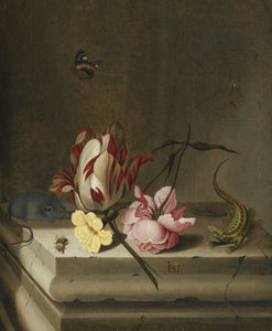 Jan Baptist Van Fornenburgh - Still life with a parrot tulip, a pink rose, a mouse