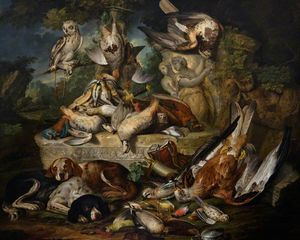 Jan Baptist Weenix - Hounds and an Owl with Dead Birds and Sculptures in a Landscape