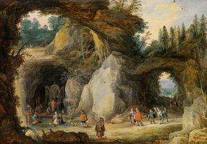 Jan De Momper - A Hermit before a Grotto