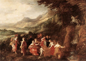 Joos De Momper The Younger - Helicon or Minerva's Visit to the Muses