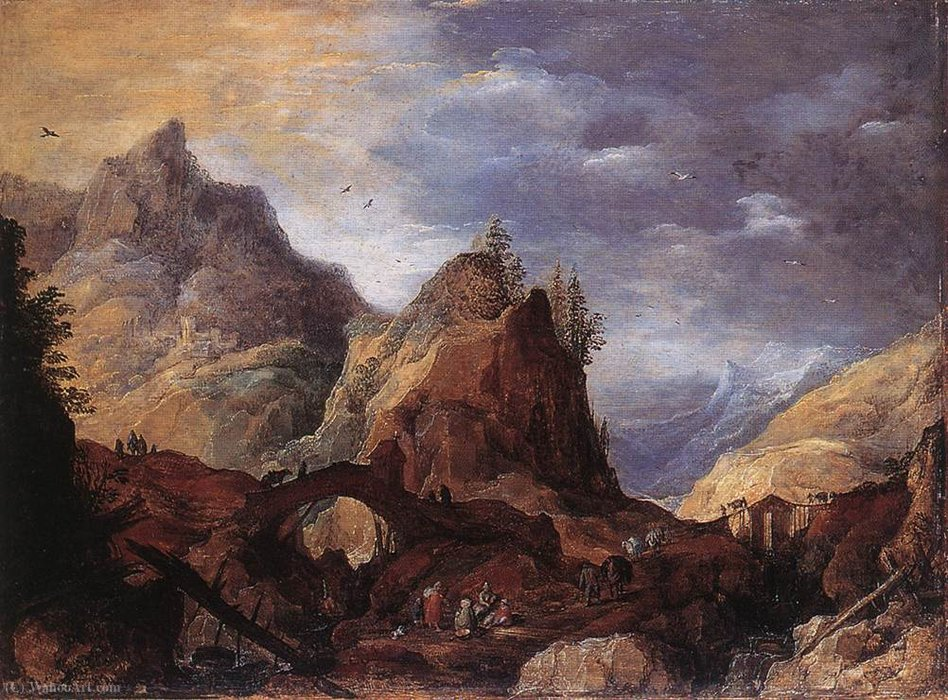 Mountain Scene with Bridges by Joos De Momper The Younger (1564-1635) | Oil Painting | WahooArt.com