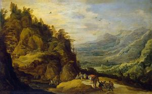 Jan De Momper - Mountainous Landscape with Figures and a Donkey