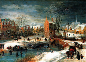 Jan De Momper - Village in winter