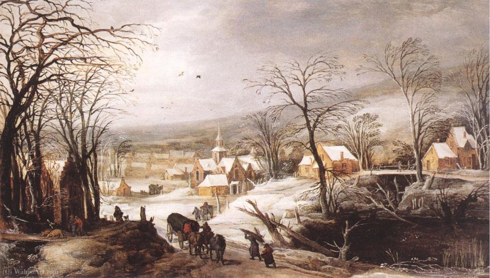 Winter landscape by Joos De Momper The Younger (1564-1635) | Art Reproduction | WahooArt.com