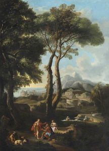 Jan Frans Van Bloemen - A Classical Landscape with Two Figures Greeting One Another, Cattle, and a Town beyond
