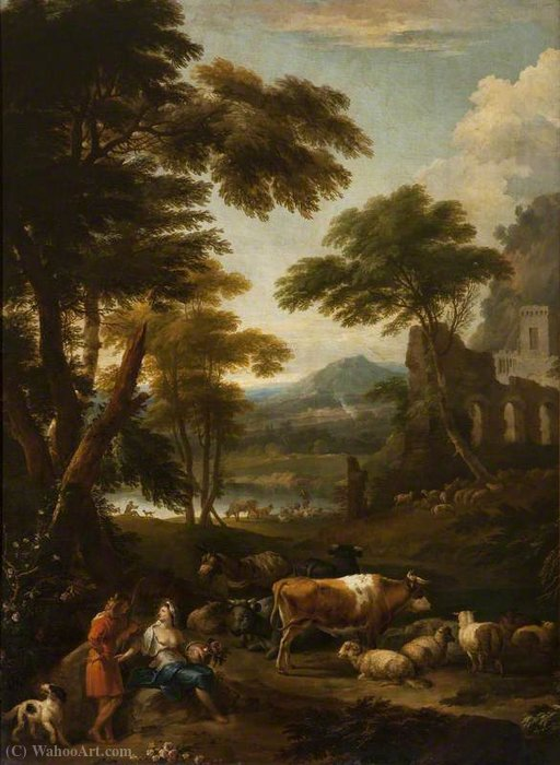 A Wooded Landscape with Figures by Jan Frans Van Bloemen (1662-1749, Belgium)