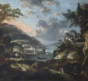 Jan Griffier - An Imaginary Eastern Port with Figures and Animals, with Dover