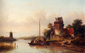 Jan Jacob Spohler - A river landscape in summer with a moored haybarge by a fortified farmhouse
