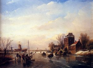 Jan Jacob Spohler - Skaters on a frozen river