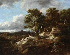 Jan Jansz Wijnants - A rocky wooded landscape