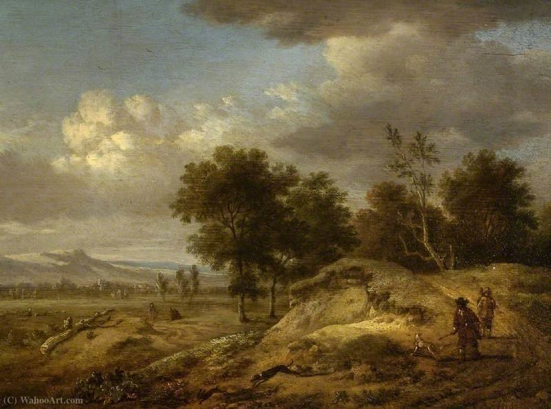 Landscape with Coursing by Jan Jansz Wijnants (1632-1684, Netherlands) | Art Reproductions Jan Jansz Wijnants | WahooArt.com