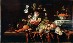 Jan Pauwel The Elder Gillemans - Still-life with Fruit, Flowers and Crayfish