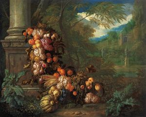 Jan Pauwel The Younger Gillemans - Still life with Fruit in a Landscape