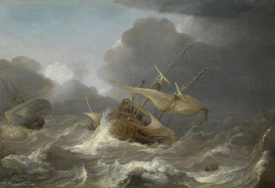 Dutch Ships in a Gale by Jan Porcellis (1583-1632, Belgium)
