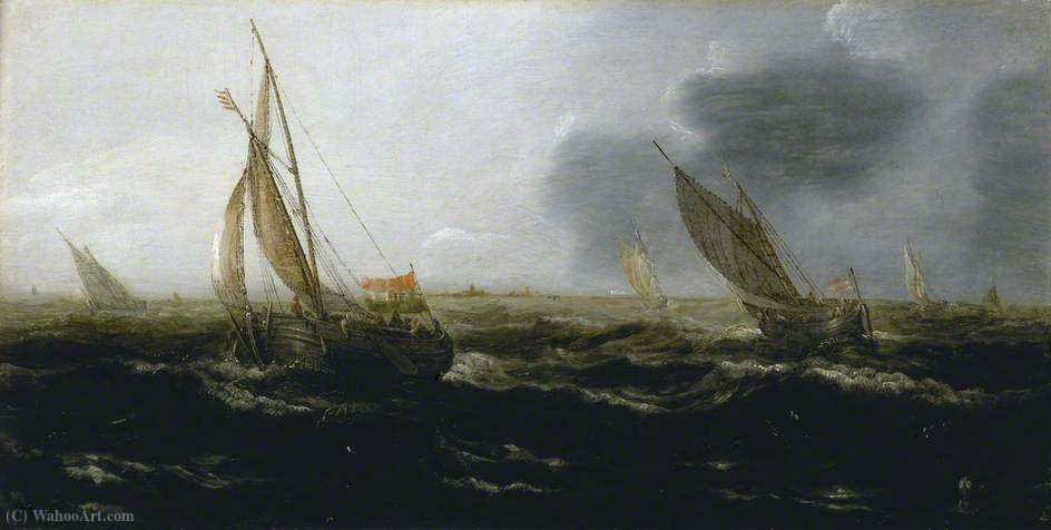 Dutch Vessels in a Strong Breeze by Jan Porcellis (1583-1632, Belgium)