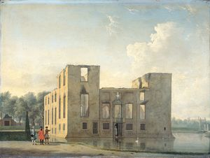 Jan Ten Compe - Berckenrode Castle in Heemstede after the fire of 4-5 May (1747)