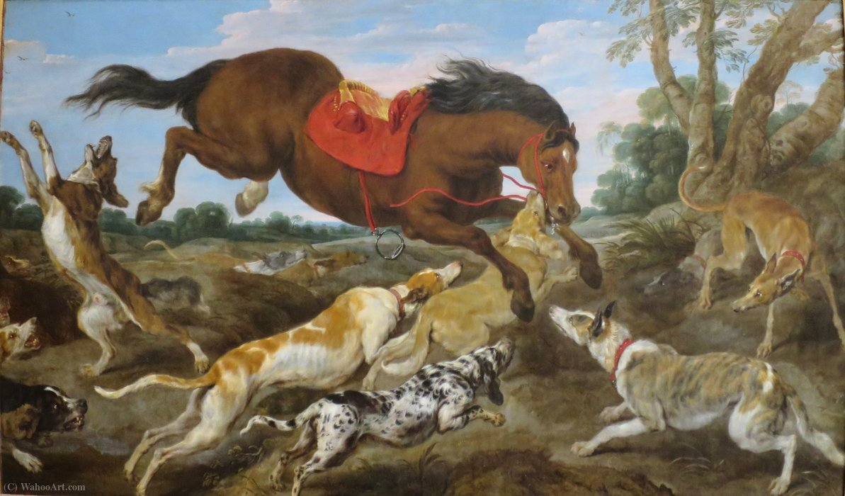 Horse Attacked by Dogs by Jan Wildens (1586-1653, Belgium) | Museum Quality Copies Jan Wildens | WahooArt.com