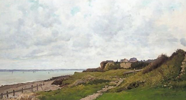 By the sea, Normandy (2) by Jean Baptiste Antoine Guillemet (1841-1918, France) | Oil Painting | WahooArt.com